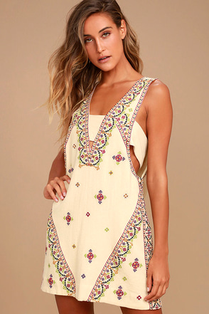 Free People Never Been Beige Embroidered Mini Dress 2