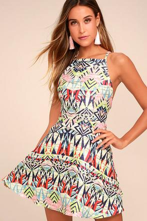 Swish Swish Cream Print Skater Dress 1