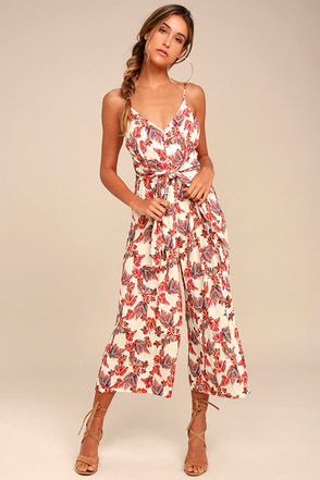 Free People Hot Tropics Cream Print Midi Jumpsuit 1