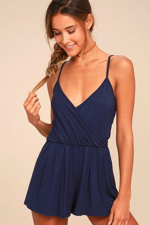 Project Social T Cold Brew Navy Blue Romper 2