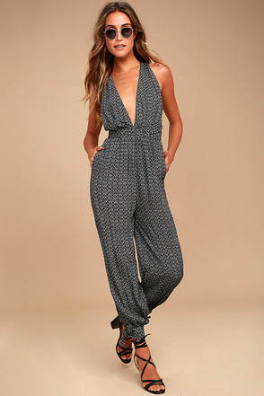 Take a Trip Black Print Halter Jumpsuit 1