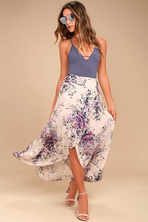 Right by Your Side Blush Pink Floral Print Wrap Midi Skirt 1