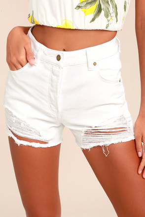 Rollas Original White High-Waisted Distressed Shorts 4