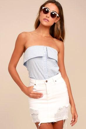 Good Friends White Distressed Denim Mini Skirt 2