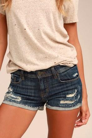 Lexi Dark Wash Distressed Denim Shorts 3