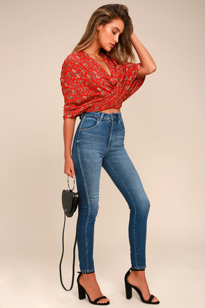 Rollas Eastcoast Ankle Dark Blue High-Waisted Skinny Jeans 1