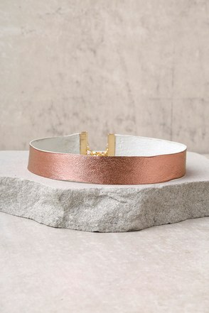 Frasier Sterling Born to be Wild Rose Gold Choker Necklace 1