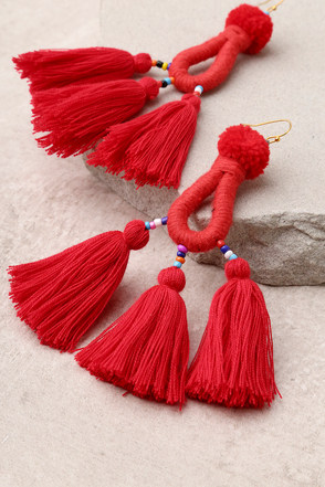 Paint the Town Red Tassel Earrings 1