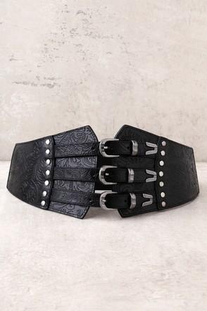 Lovestrength Josie Black Leather Waist  Belt 1