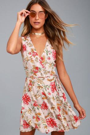 Best In Bloom Blush Floral Print Wrap Dress 1