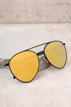 Quay Indio Black and Gold Aviator Sunglasses 1