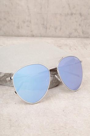 Quay Indio Sliver and Blue Aviator Sunglasses 1