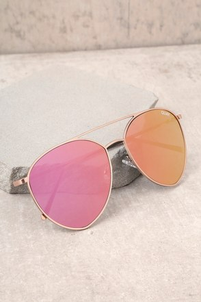 Quay Indio Gold and Pink Aviator Sunglasses 2