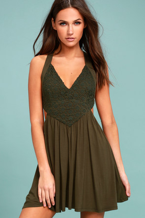 Cute Olive Green Dress Skater Dress Lace Dress