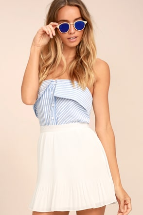 Free people white and blue bellsleeve dress