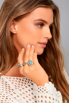 Trendy Gold Ring Set Boho Ring Set Blue Stone Ring Set