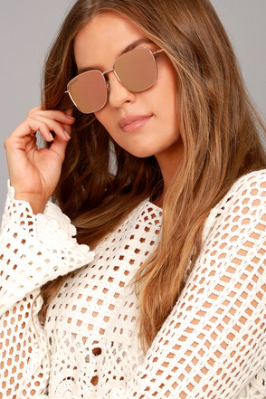 Perverse Em Sunglasses Trendy Rose Gold Sunglasses