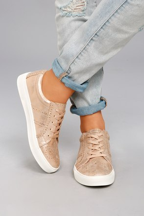 Report Abe Chic Rose Gold Sneakers Perforated Sneakers