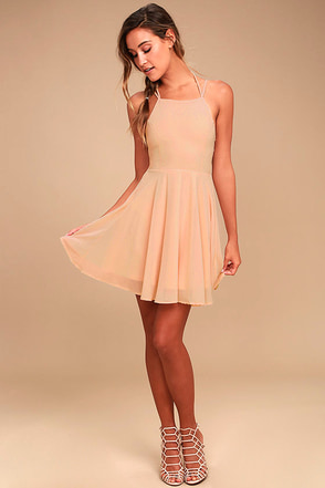 Good Deeds Blush Pink Lace Up Dress 2