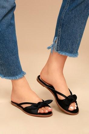 Cute Black Sandals Knotted Sandals Slide Sandals