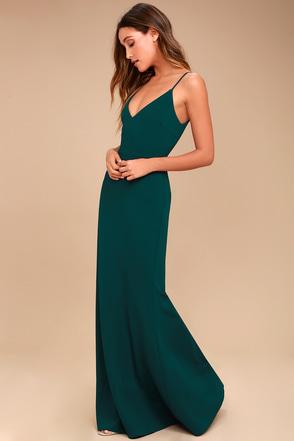 infinite glory forest green maxi dress 3