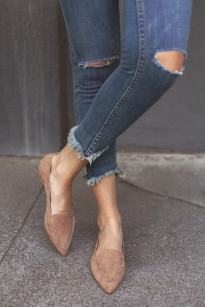 Emmy Camel Suede Pointed Loafers 6