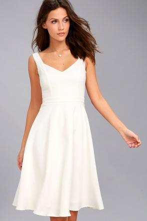 Classic White Dress Midi Dress Skater Dress