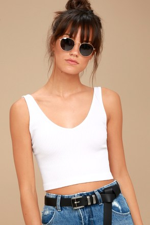 Free People Solid Rib White Cropped Tank Top 2