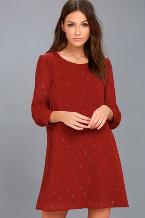 Dayna Wine Red Long Sleeve Shift Dress 1