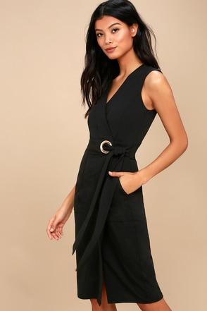 Chic Black Dress Midi Dress Wrap Dress Grommet Dress