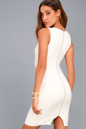 lovely ivory dress bodycon dress sleeveless dress