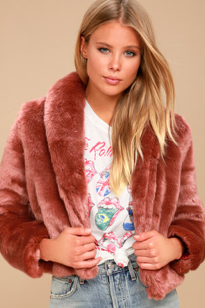 Lana Rusty Rose Faux Fur Cropped Coat 2