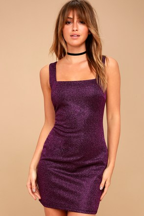 stunning purple dress metallic dress bodycon dress