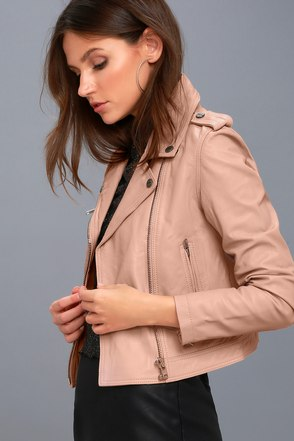 Diablo City Blush Pink Leather Moto Jacket 2
