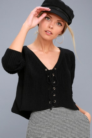 Wyatt Black Lace-Up Cropped Sweater 2