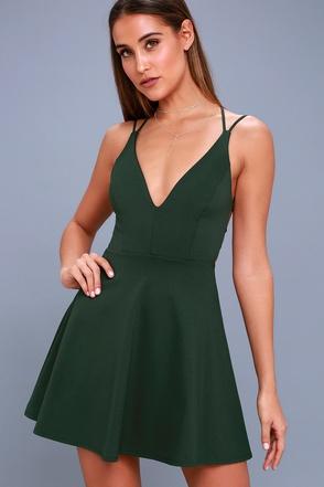 Sexy Forest Green Dress Backless Dress Skater Dress