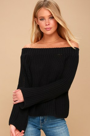 Dialogue Black Off-the-Shoulder Cropped Sweater 3