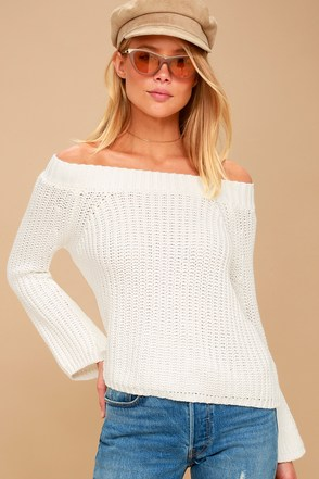 Dialogue White Off-the-Shoulder Cropped Sweater 1