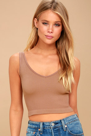 Free People Solid Rib Blush Cropped Tank Top 3