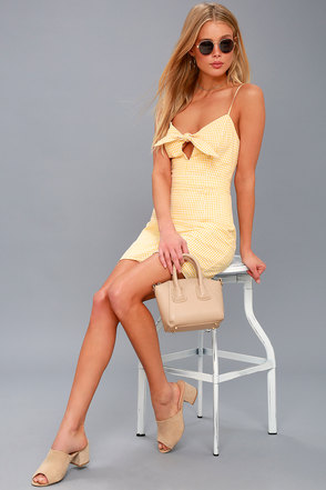 Music City White and Yellow Gingham Tie-Front Dress 1