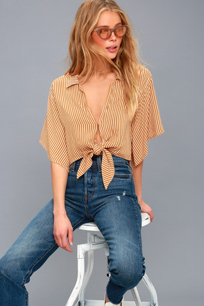 Mojave Golden Yellow Striped Knotted Crop Top 1