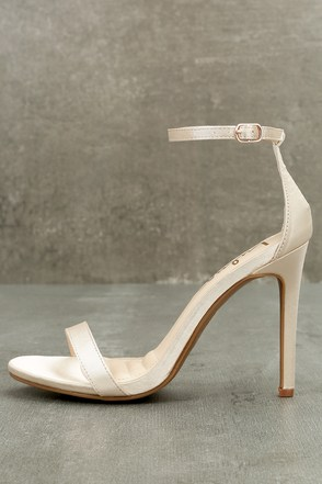 Loveliness Blush Satin Ankle Strap Heels 1