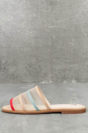 Show Me How Beige Multi Slide Sandals 2