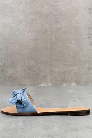 Glynn Blue Denim Knotted Slide Sandals 1
