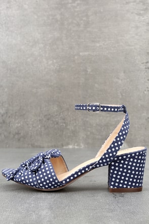 Dorthea Blue Polka Dot High Heel Sandals 1