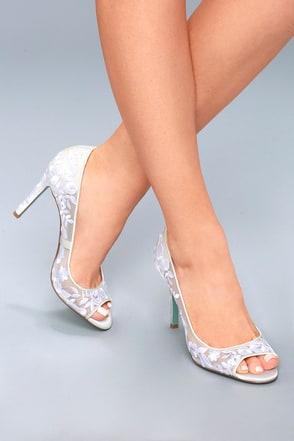 Adley Ivory Embroidered Peep Toe Heels 5