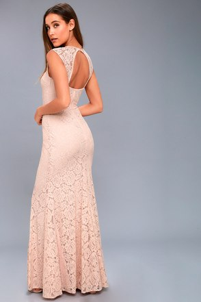 Gorgeous Blush Pink Dress Lace Maxi Dress Mermaid Maxi