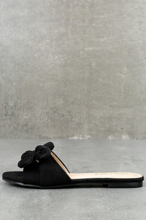 Kyndall Black Suede Slide Sandals 1