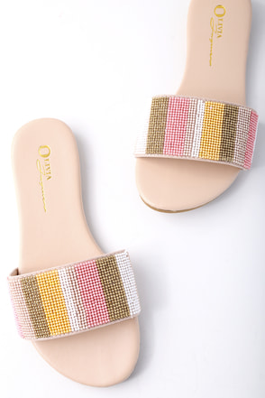 Maira Nude Beaded Slide Sandals 1