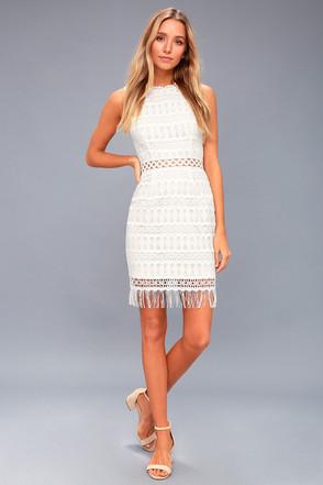 Schön Kenna White Crochet Lace Sleeveless Bodycon Dress 3